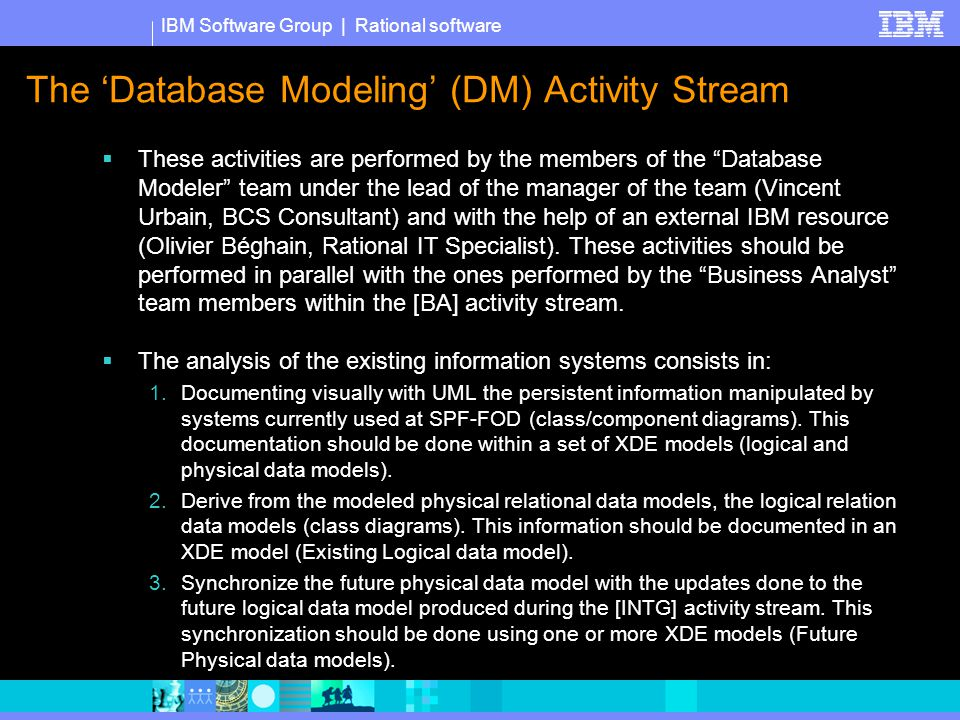 IBM Software Group | Rational software The 'Database Modeling' (DM) Activity Stream  These activities are performed by the members of the Database Modeler team under the lead of the manager of the team (Vincent Urbain, BCS Consultant) and with the help of an external IBM resource (Olivier Béghain, Rational IT Specialist).