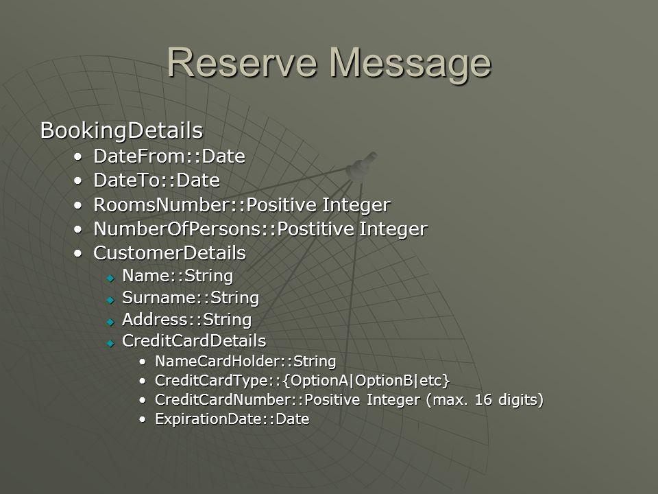 Reserve Message BookingDetails DateFrom::DateDateFrom::Date DateTo::DateDateTo::Date RoomsNumber::Positive IntegerRoomsNumber::Positive Integer NumberOfPersons::Postitive IntegerNumberOfPersons::Postitive Integer CustomerDetailsCustomerDetails  Name::String  Surname::String  Address::String  CreditCardDetails NameCardHolder::StringNameCardHolder::String CreditCardType::{OptionA|OptionB|etc}CreditCardType::{OptionA|OptionB|etc} CreditCardNumber::Positive Integer (max.