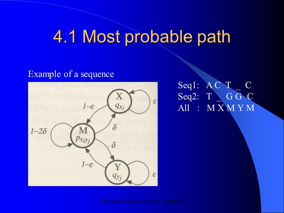 Thomas Jellema & Wouter Van Gool 8 4.1 Most probable path Example of a sequence Seq1: A C T _ C Seq2: T _ G G C All : M X M Y M