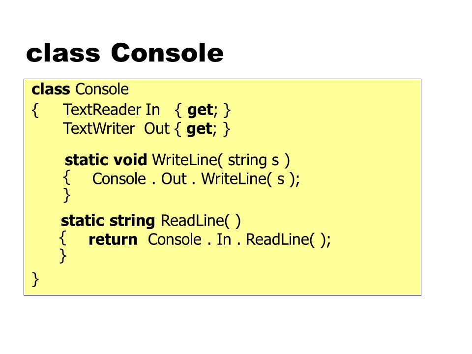 class Console static void WriteLine( string s ) class Console { } { } Console. Out. WriteLine( s ); static string ReadLine( ) { } return Console. In.