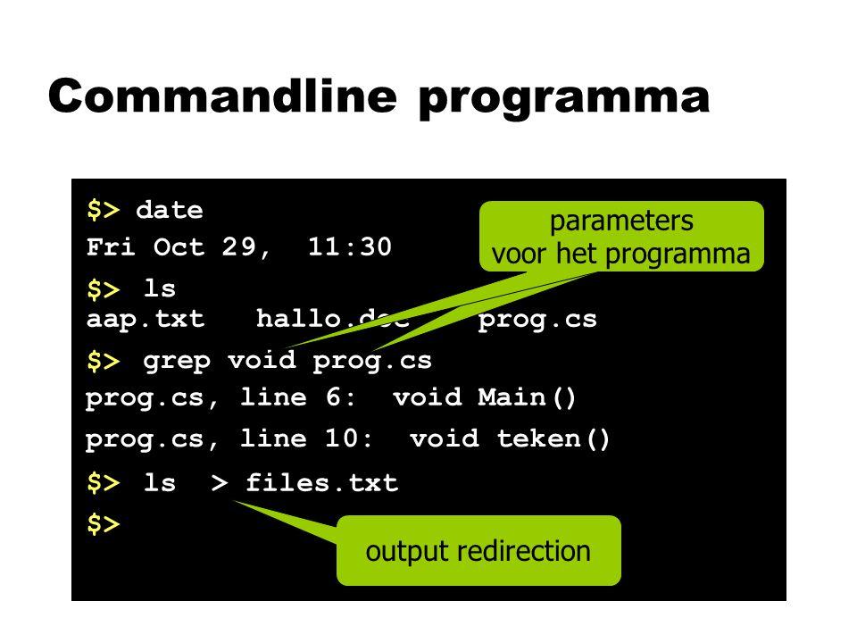 Commandline programma $>date Fri Oct 29, 11:30 $> ls aap.txt hallo.doc prog.cs $> grep void prog.cs prog.cs, line 6: void Main() prog.cs, line 10: void teken() $>ls > files.txt $> parameters voor het programma output redirection