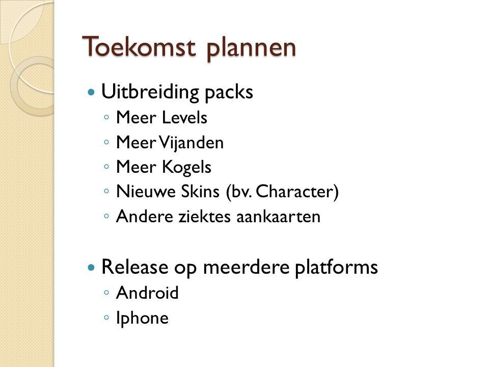 Toekomst plannen Uitbreiding packs ◦ Meer Levels ◦ Meer Vijanden ◦ Meer Kogels ◦ Nieuwe Skins (bv.