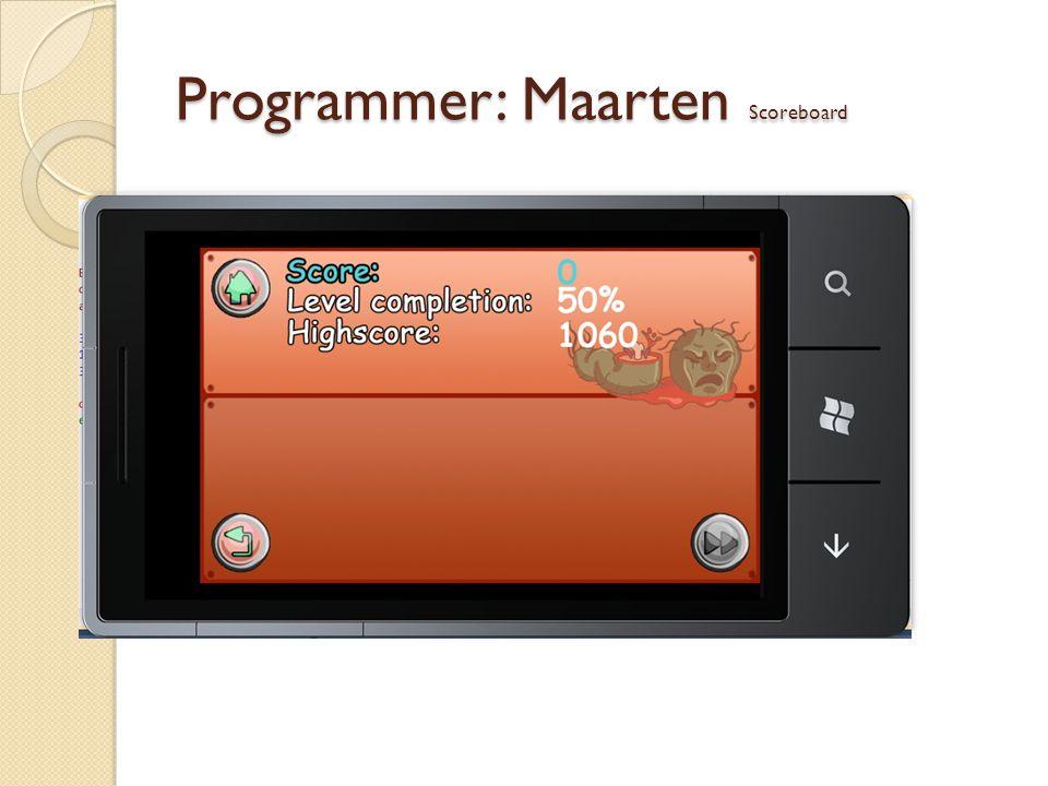 Programmer: Maarten Scoreboard