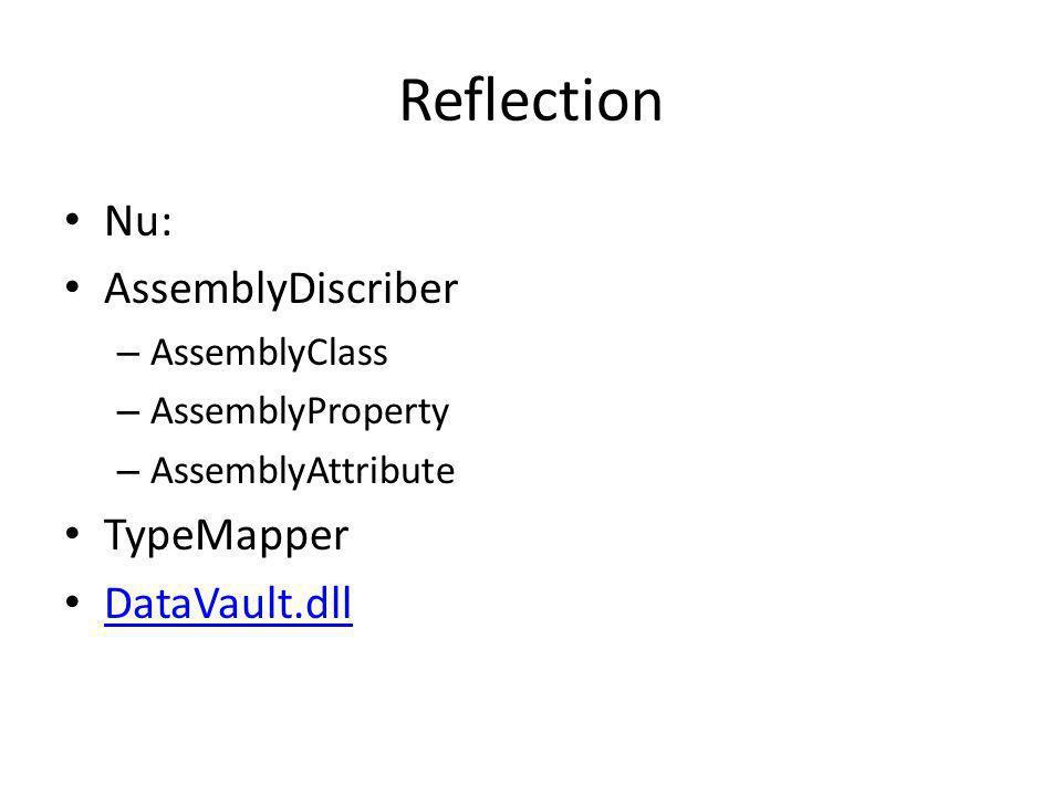 Reflection Nu: AssemblyDiscriber – AssemblyClass – AssemblyProperty – AssemblyAttribute TypeMapper DataVault.dll