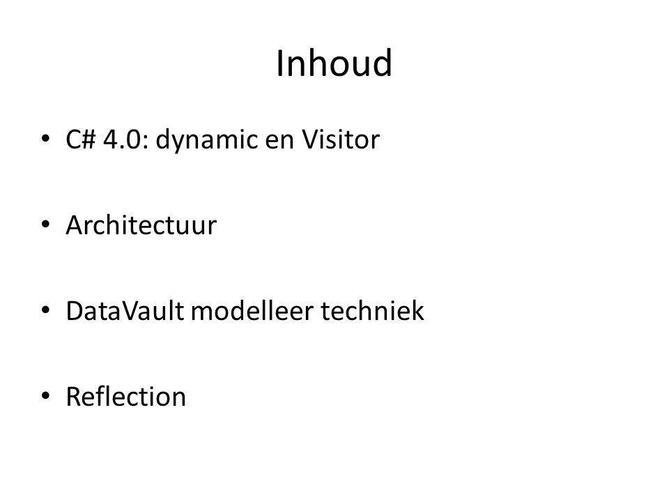 Inhoud C# 4.0: dynamic en Visitor Architectuur DataVault modelleer techniek Reflection