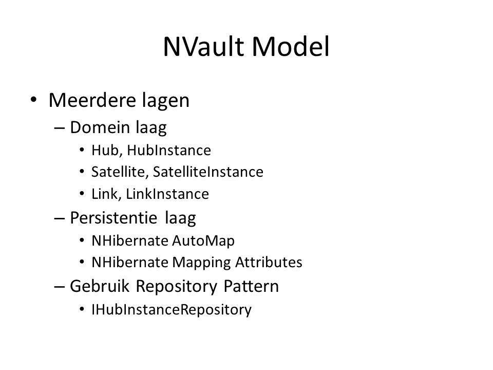 NVault Model Meerdere lagen – Domein laag Hub, HubInstance Satellite, SatelliteInstance Link, LinkInstance – Persistentie laag NHibernate AutoMap NHibernate Mapping Attributes – Gebruik Repository Pattern IHubInstanceRepository