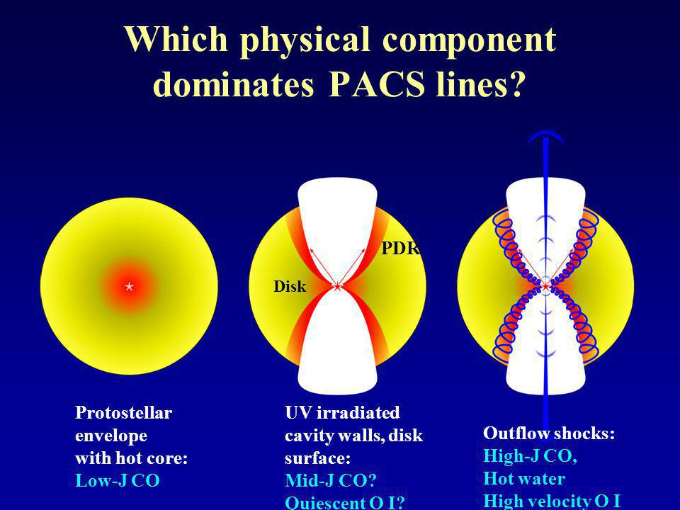 Which physical component dominates PACS lines.