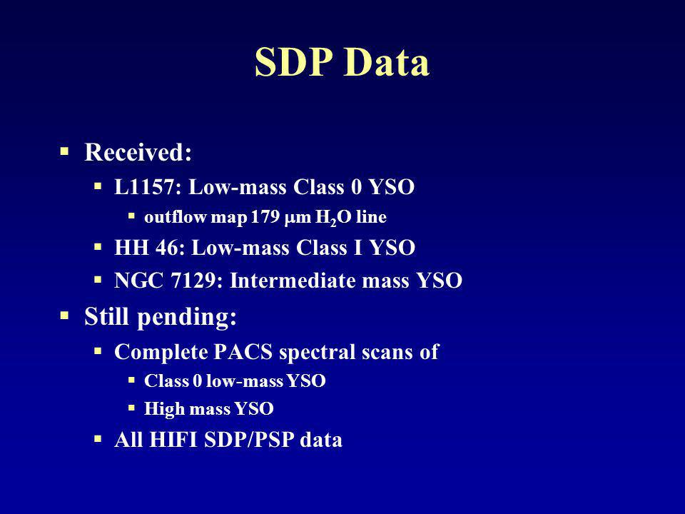 SDP Data  Received:  L1157: Low-mass Class 0 YSO  outflow map 179  m H 2 O line  HH 46: Low-mass Class I YSO  NGC 7129: Intermediate mass YSO  Still pending:  Complete PACS spectral scans of  Class 0 low-mass YSO  High mass YSO  All HIFI SDP/PSP data