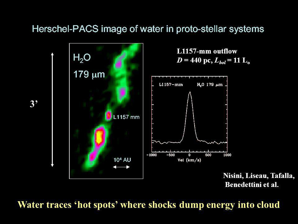 L1157 mm Spitzer IRAC Herschel PACS H 2 O 179  m 10 4 AU - Strong water emission from the embedded protostar Water traces interaction more directly than Spitzer Looney et al.