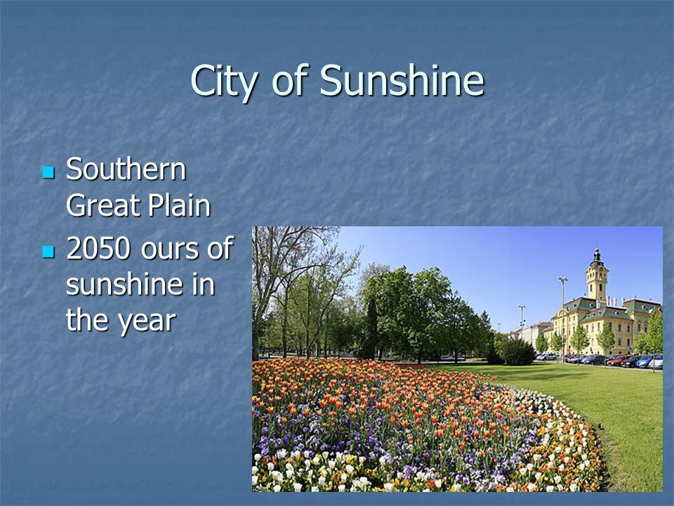 City of Sunshine Southern Great Plain Southern Great Plain 2050 ours of sunshine in the year 2050 ours of sunshine in the year