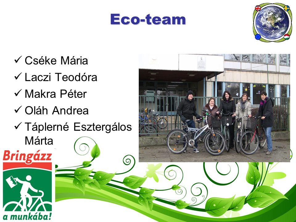 Eco-team Cséke Mária Laczi Teodóra Makra Péter Oláh Andrea Táplerné Esztergálos Márta