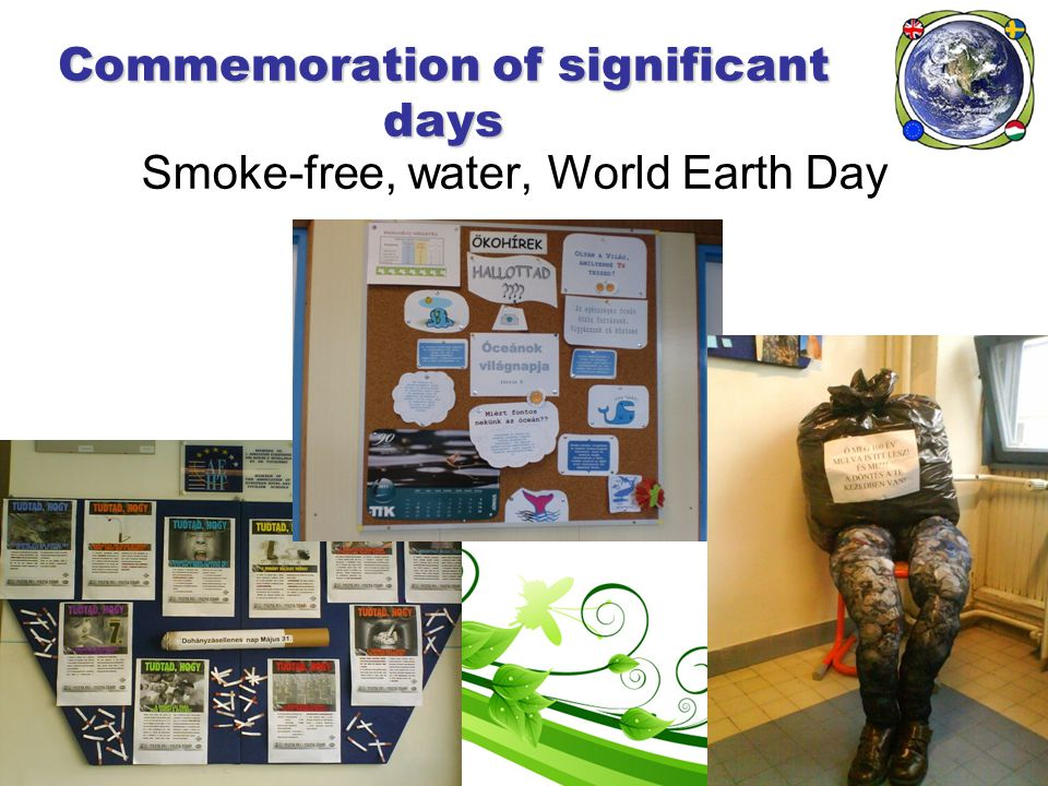 Commemoration of significant days Smoke-free, water, World Earth Day