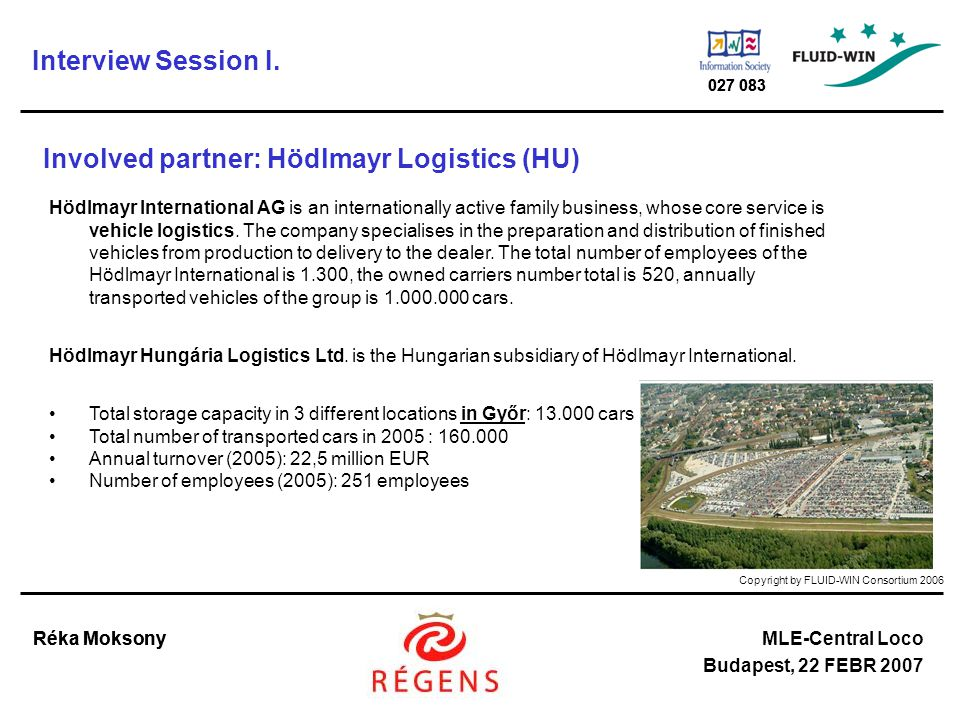 Copyright by FLUID-WIN Consortium 2006 Réka MoksonyMLE-Central Loco Budapest, 22 FEBR 2007 027 083 Réka Moksony 027 083 Involved partner: Hödlmayr Logistics (HU) Hödlmayr International AG is an internationally active family business, whose core service is vehicle logistics.