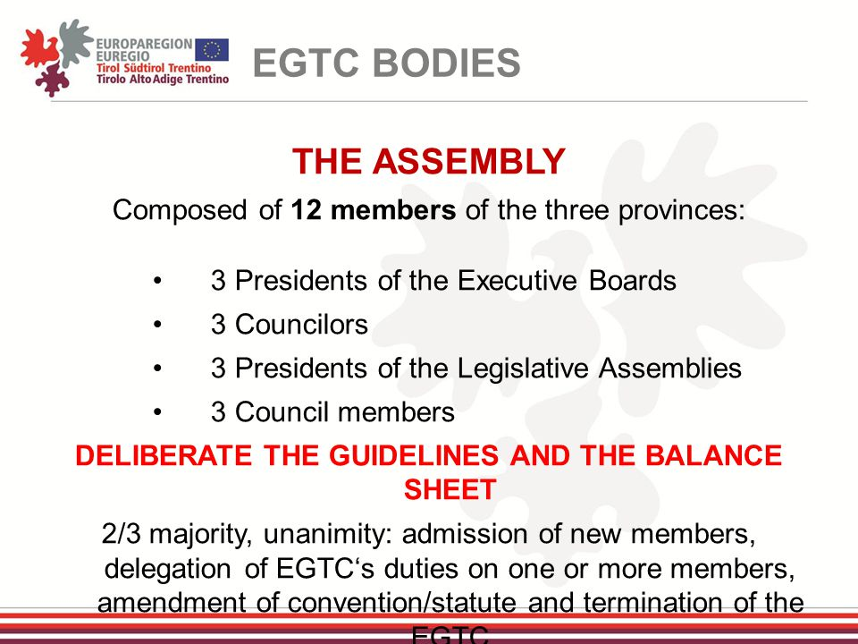 THE ASSEMBLY Composed of 12 members of the three provinces: 3 Presidents of the Executive Boards 3 Councilors 3 Presidents of the Legislative Assemblies 3 Council members DELIBERATE THE GUIDELINES AND THE BALANCE SHEET 2/3 majority, unanimity: admission of new members, delegation of EGTC's duties on one or more members, amendment of convention/statute and termination of the EGTC EGTC BODIES