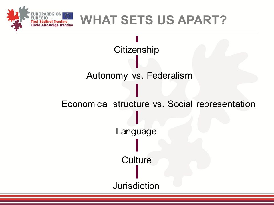 WHAT SETS US APART. Citizenship Autonomy vs. Federalism Economical structure vs.