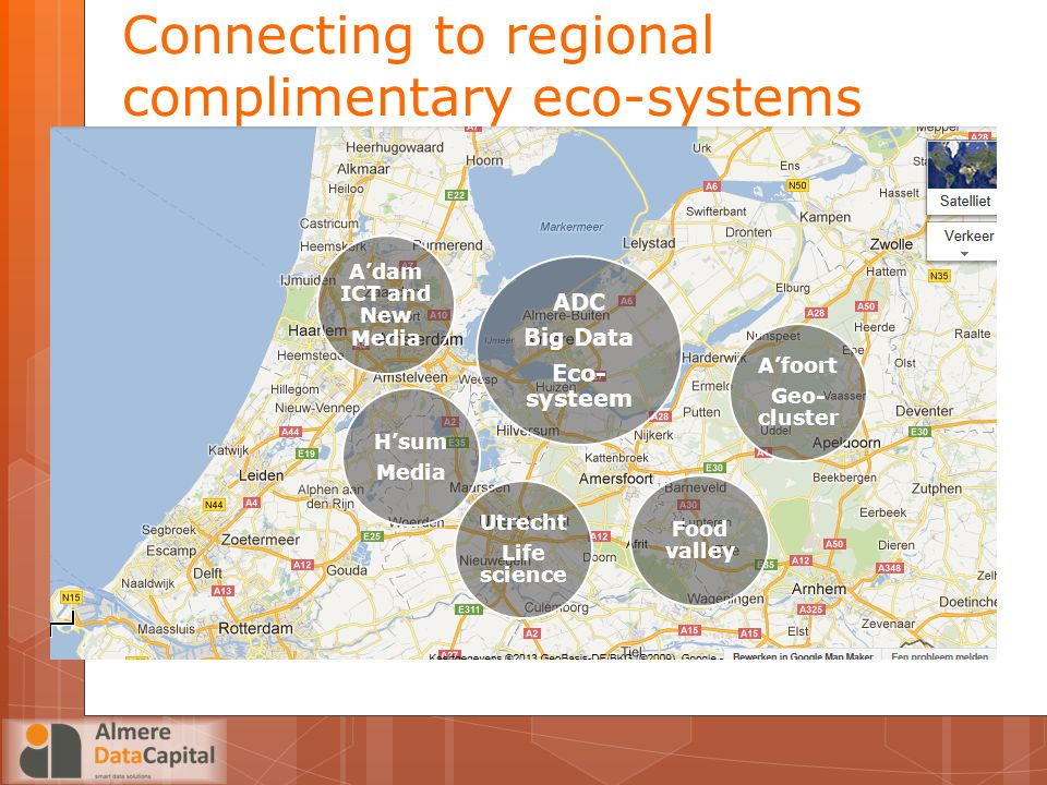Connecting to regional complimentary eco-systems ADC Big Data Eco-systeem H'sum Media Utrecht Life science A'foort Geo- cluster Food valley A'dam ICT