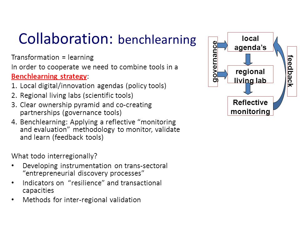 Collaboration: benchlearning Transformation = learning In order to cooperate we need to combine tools in a Benchlearning strategy: 1.Local digital/inn