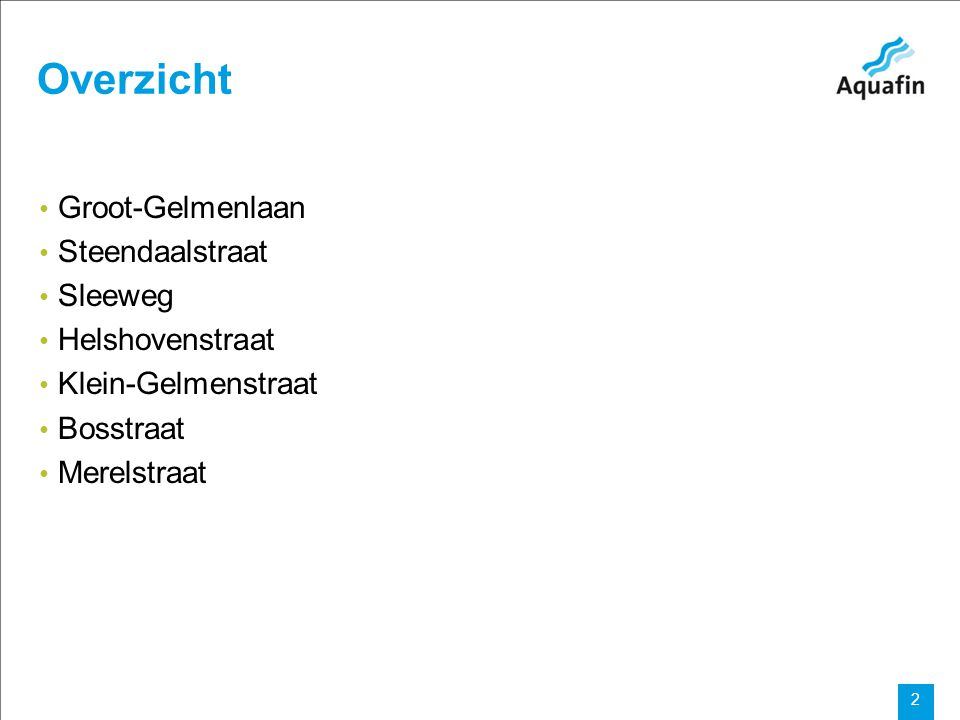 15-12-2010 Aquafin partner for all wastewater projects 3 Overzicht