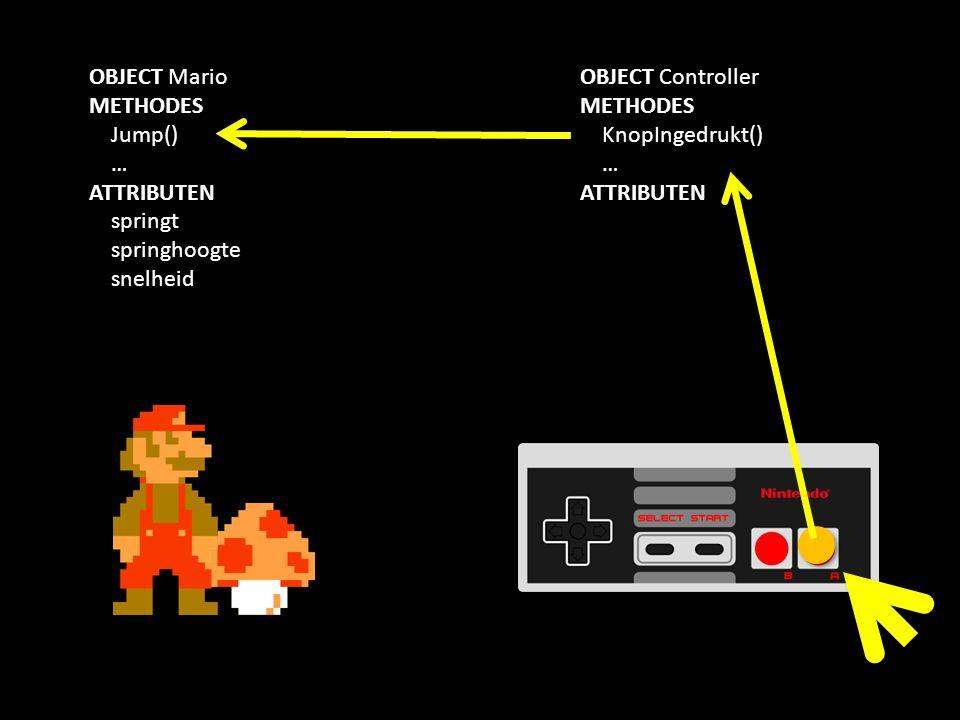 OBJECT Mario METHODES Jump() … ATTRIBUTEN springt springhoogte snelheid OBJECT Controller METHODES KnopIngedrukt() … ATTRIBUTEN