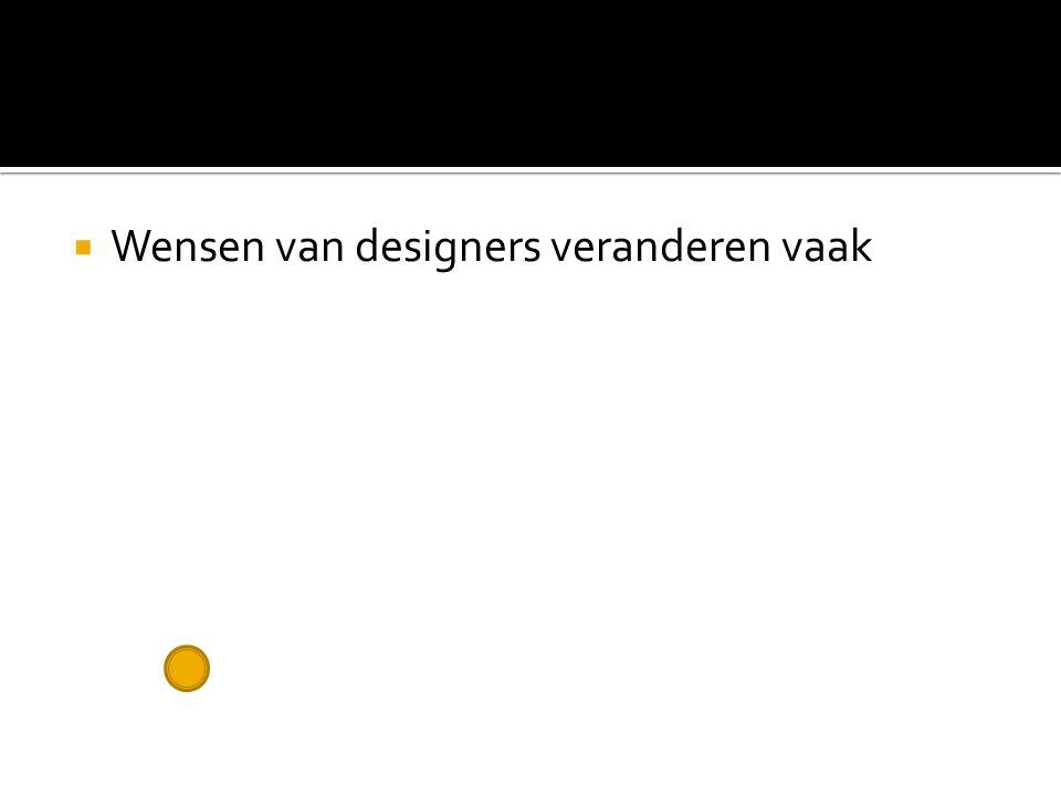  Wensen van designers veranderen vaak