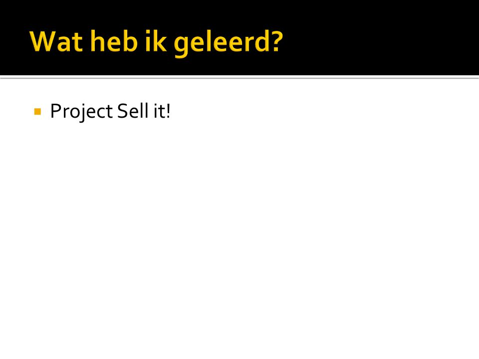  Project Sell it!