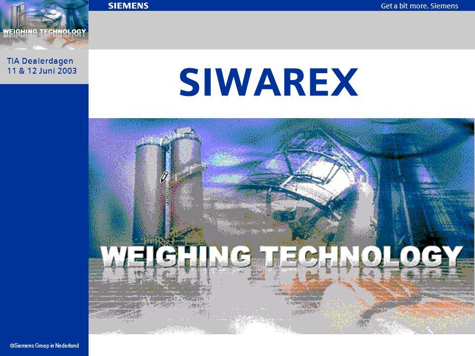 Get a bit more. Siemens  Siemens Groep in Nederland TIA Dealerdagen 11 & 12 Juni 2003 SIWAREX