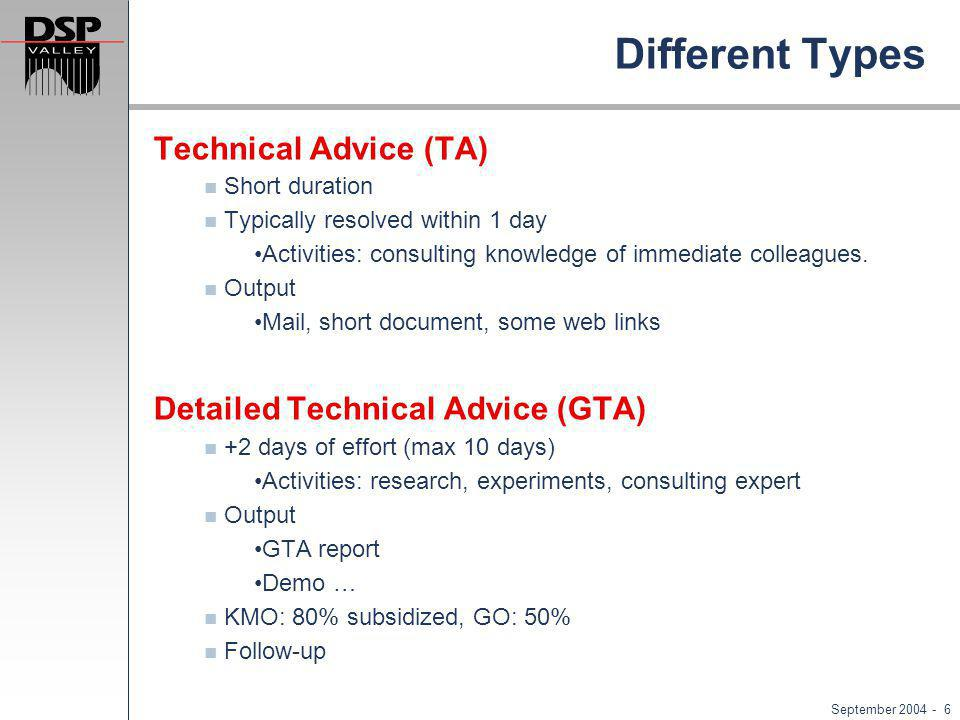 September 2004 - 6 Different Types Technical Advice (TA) Short duration Typically resolved within 1 day Activities: consulting knowledge of immediate