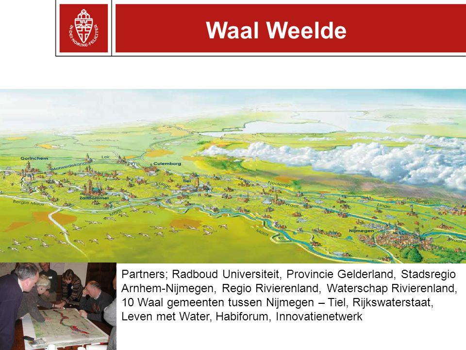 Partners; Radboud Universiteit, Provincie Gelderland, Stadsregio Arnhem-Nijmegen, Regio Rivierenland, Waterschap Rivierenland, 10 Waal gemeenten tussen Nijmegen – Tiel, Rijkswaterstaat, Leven met Water, Habiforum, Innovatienetwerk Waal Weelde