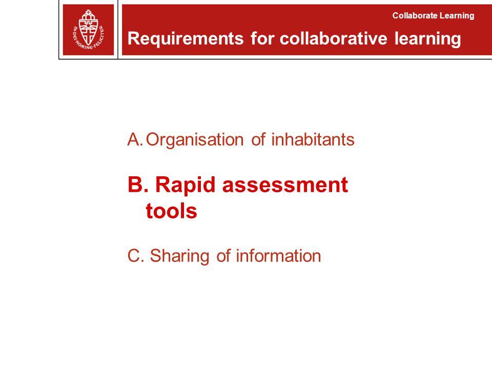 A.Organisation of inhabitants B. Rapid assessment tools C.