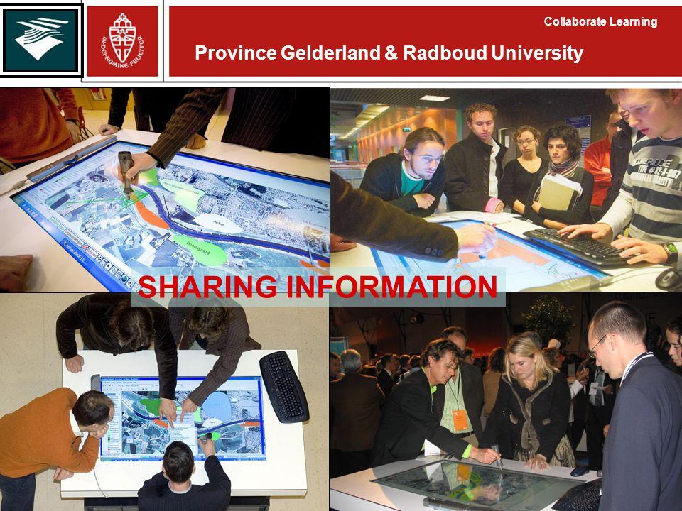 Province Gelderland & Radboud University Collaborate Learning SHARING INFORMATION