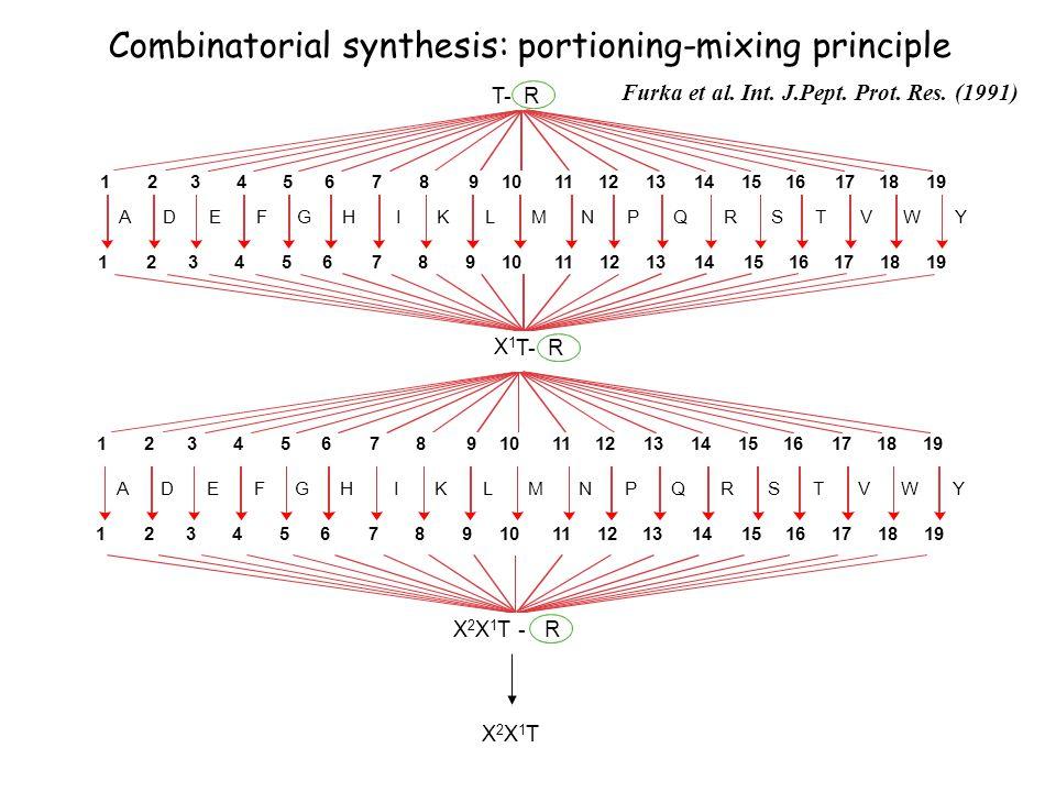 T- R 7981012111324 6 5191315 14 161718 YADEFGHIKLMNPQRSTVW 79810121113246519131514161718 X 1 T- R 7981012111324 6 519131514161718 Combinatorial synthesis: portioning-mixing principle Furka et al.
