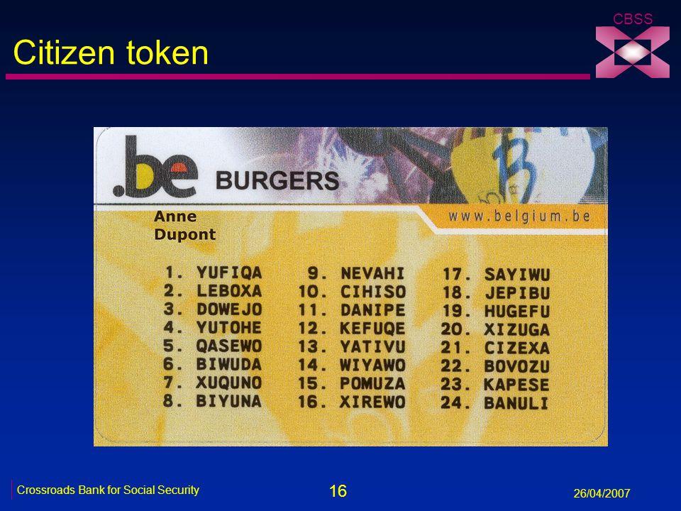 16 Crossroads Bank for Social Security 26/04/2007 CBSS Citizen token
