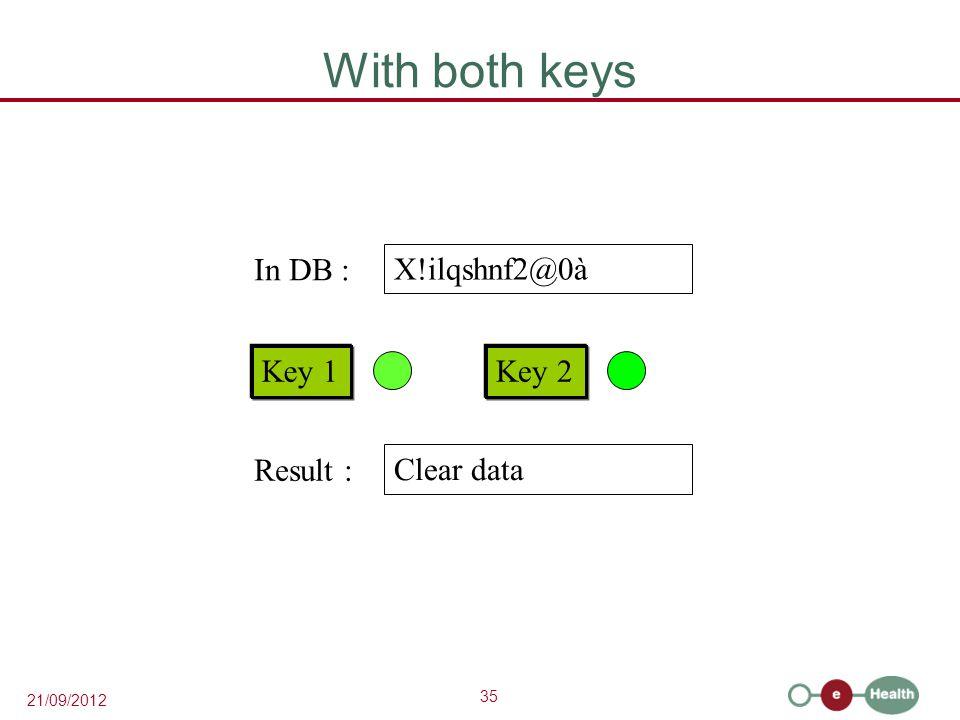 35 21/09/2012 With both keys X!ilqshnf2@0à Key 1Key 2 In DB : Clear data Result :
