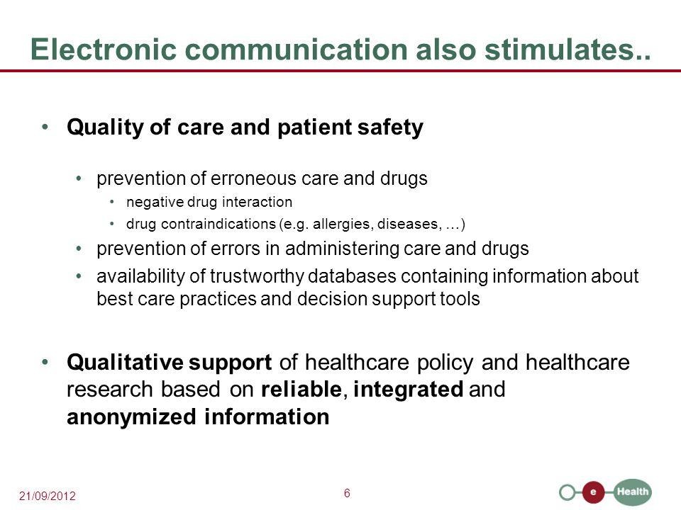 6 21/09/2012 Electronic communication also stimulates..
