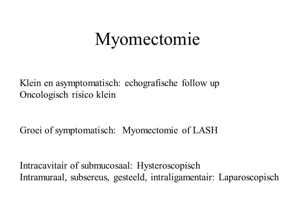 Myomectomie Klein en asymptomatisch: echografische follow up Oncologisch risico klein Groei of symptomatisch: Myomectomie of LASH Intracavitair of sub
