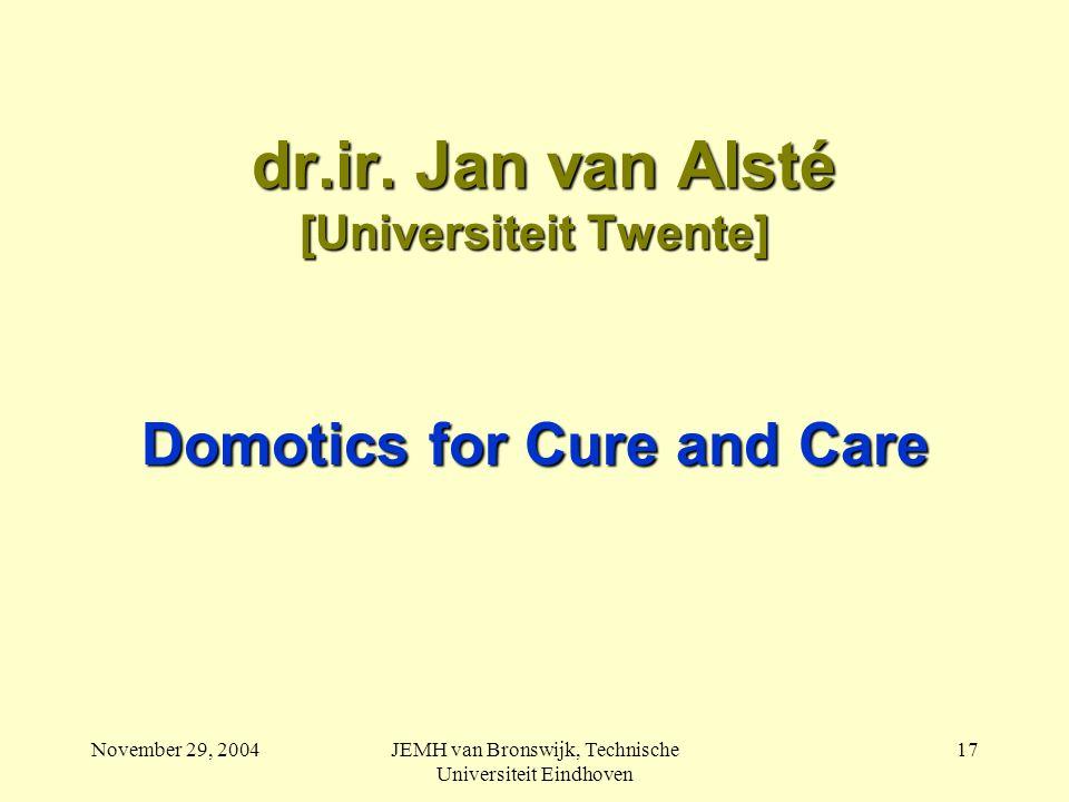 November 29, 2004JEMH van Bronswijk, Technische Universiteit Eindhoven 17 dr.ir.