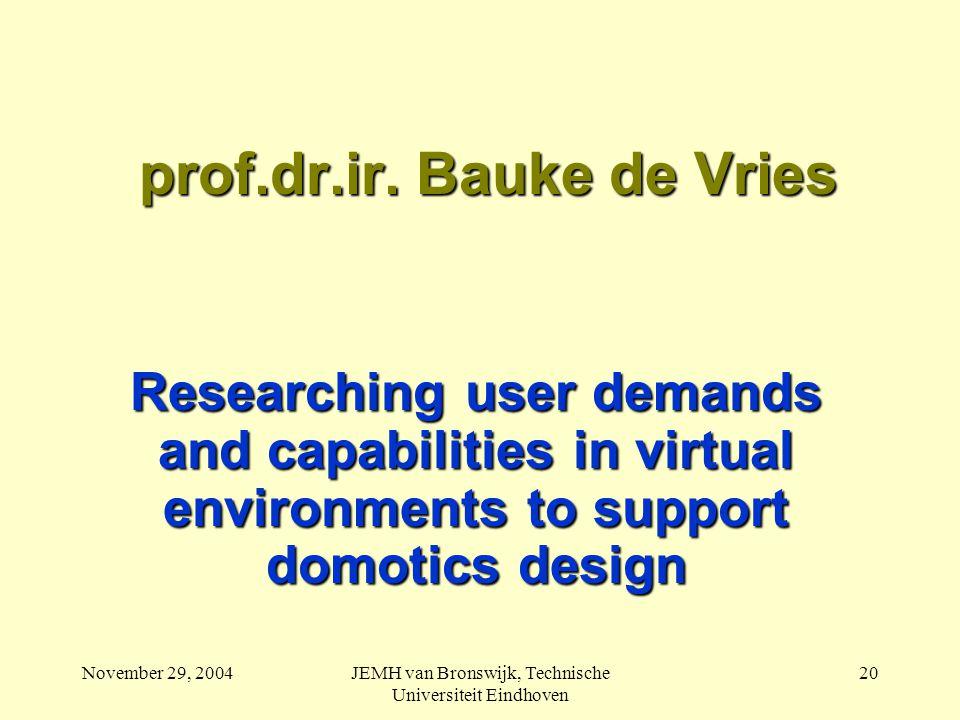 November 29, 2004JEMH van Bronswijk, Technische Universiteit Eindhoven 20 prof.dr.ir.