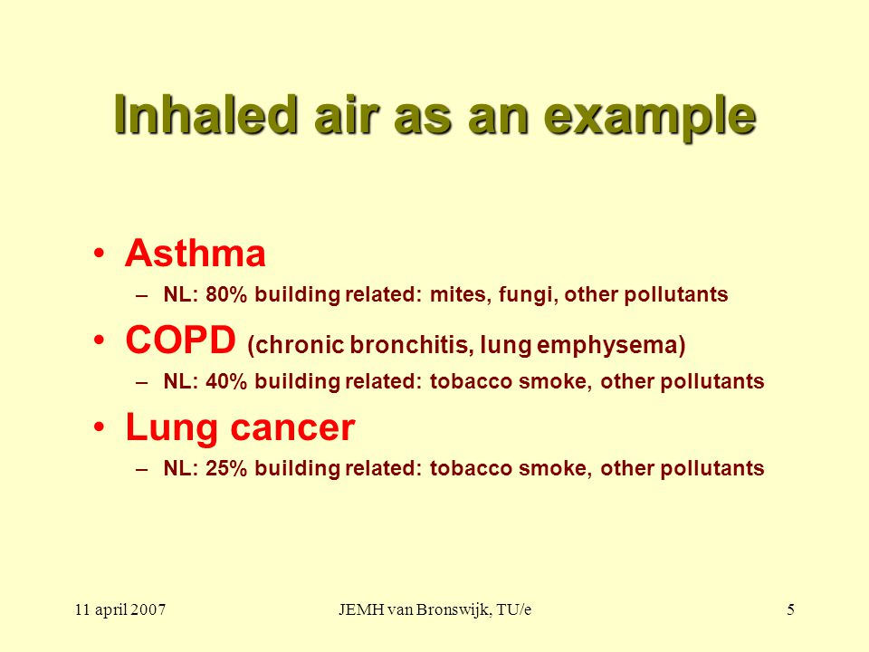 11 april 2007JEMH van Bronswijk, TU/e5 Inhaled air as an example Asthma –NL: 80% building related: mites, fungi, other pollutants COPD (chronic bronchitis, lung emphysema) –NL: 40% building related: tobacco smoke, other pollutants Lung cancer –NL: 25% building related: tobacco smoke, other pollutants