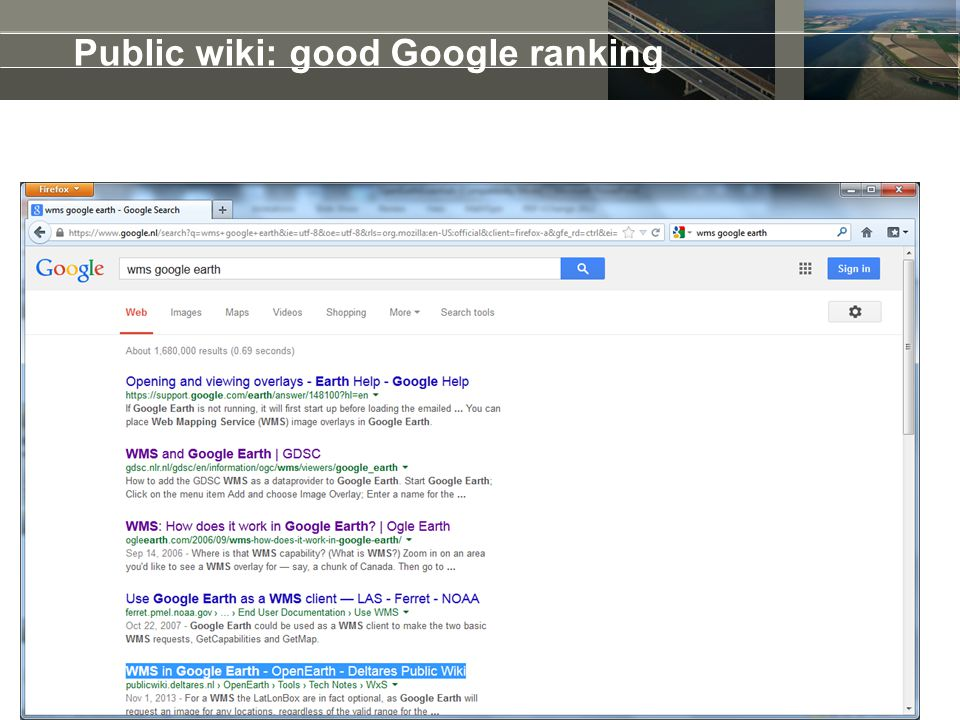 Public wiki: good Google ranking