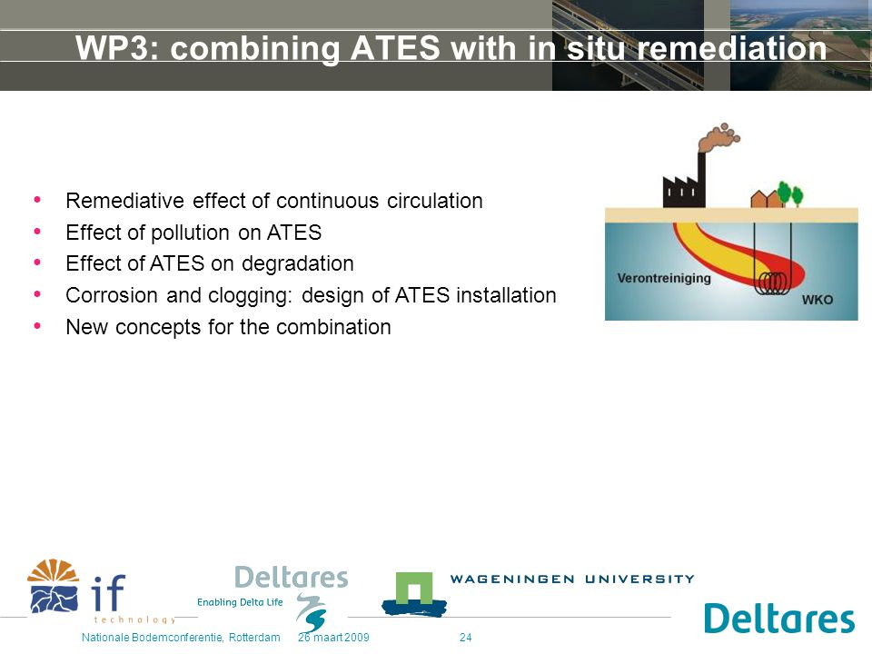 26 maart 2009Nationale Bodemconferentie, Rotterdam24 WP3: combining ATES with in situ remediation Remediative effect of continuous circulation Effect of pollution on ATES Effect of ATES on degradation Corrosion and clogging: design of ATES installation New concepts for the combination