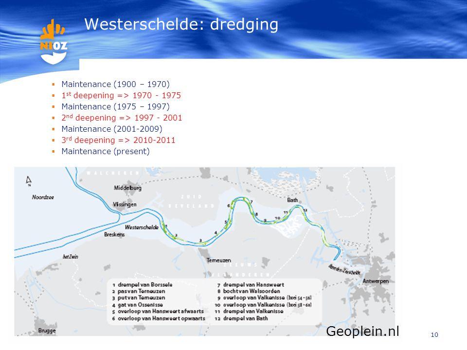 10 Westerschelde: dredging  Maintenance (1900 – 1970)  1 st deepening => 1970 - 1975  Maintenance (1975 – 1997)  2 nd deepening => 1997 - 2001  M