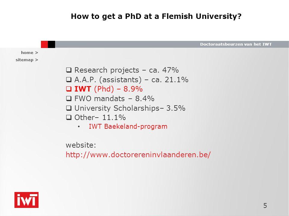 home > sitemap > Doctoraatsbeurzen van het IWT How to get a PhD at a Flemisch University.