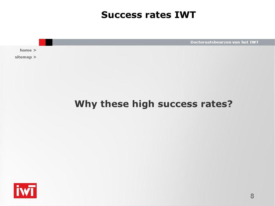home > sitemap > Doctoraatsbeurzen van het IWT Success rates IWT Why these high success rates? 8