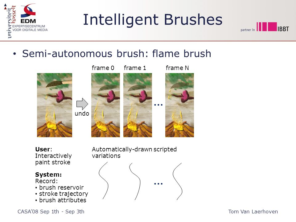 Intelligent Brushes CASA'08 Sep 1th - Sep 3thTom Van Laerhoven Semi-autonomous brush: flame brush … User: Interactively paint stroke Automatically-drawn scripted variations frame 0frame 1frame N System: Record: brush reservoir stroke trajectory brush attributes … undo