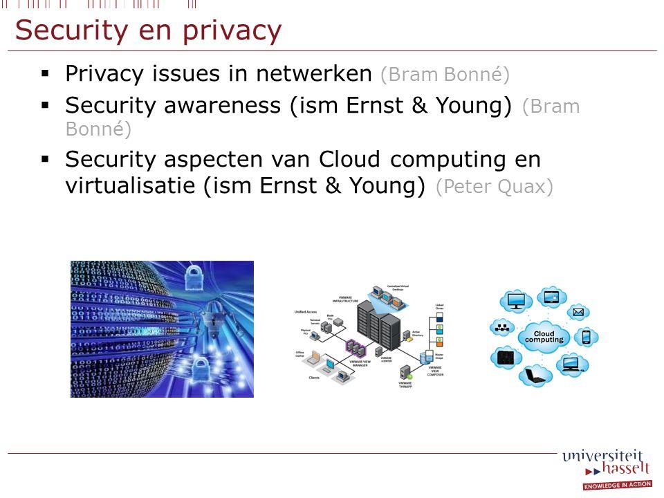  Privacy issues in netwerken (Bram Bonné)  Security awareness (ism Ernst & Young) (Bram Bonné)  Security aspecten van Cloud computing en virtualisatie (ism Ernst & Young) (Peter Quax) Security en privacy