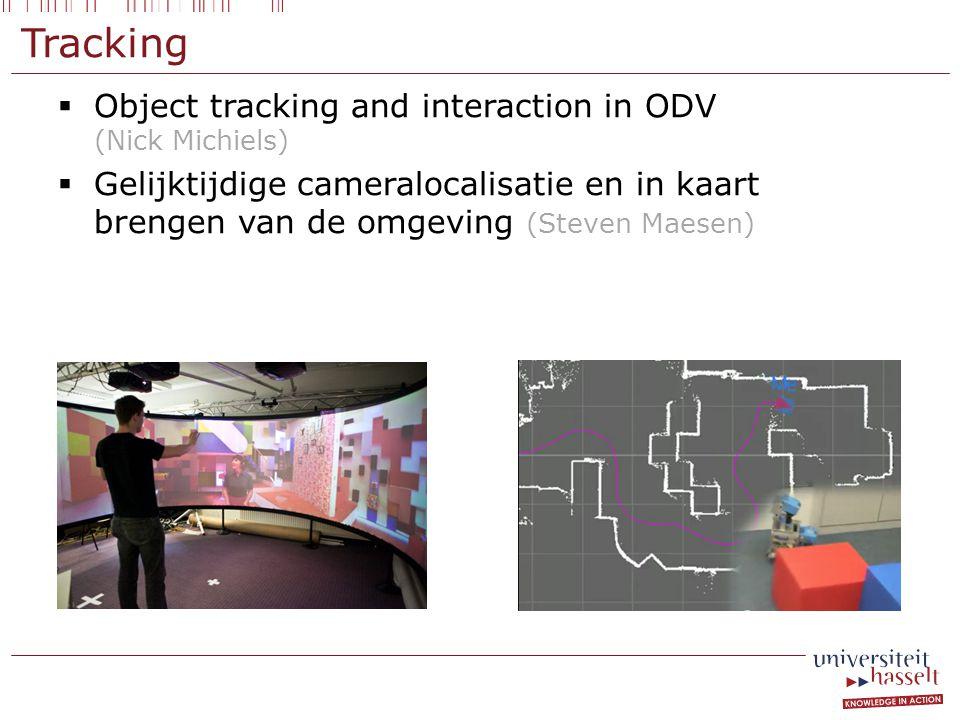 Tracking  Object tracking and interaction in ODV (Nick Michiels)  Gelijktijdige cameralocalisatie en in kaart brengen van de omgeving (Steven Maesen)