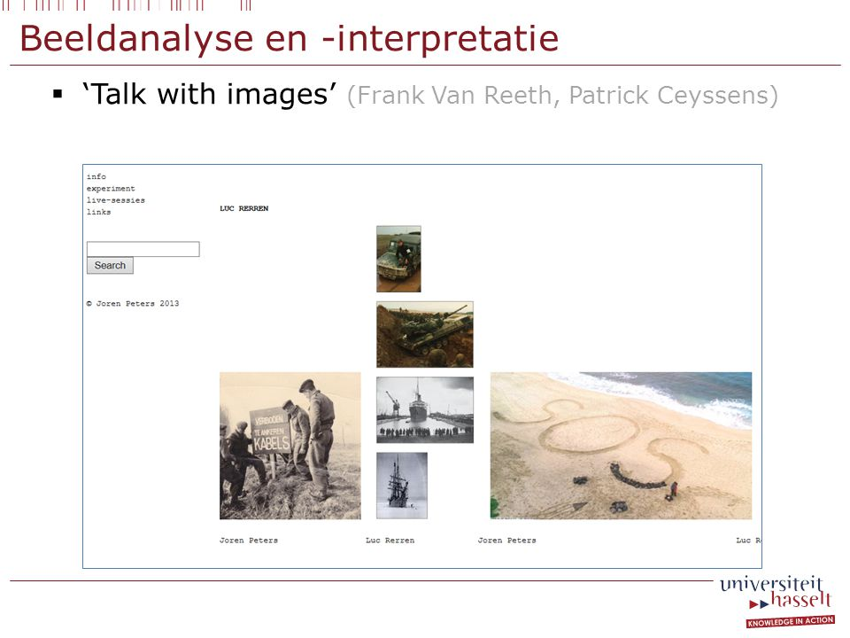 Beeldanalyse en -interpretatie  'Talk with images' (Frank Van Reeth, Patrick Ceyssens)