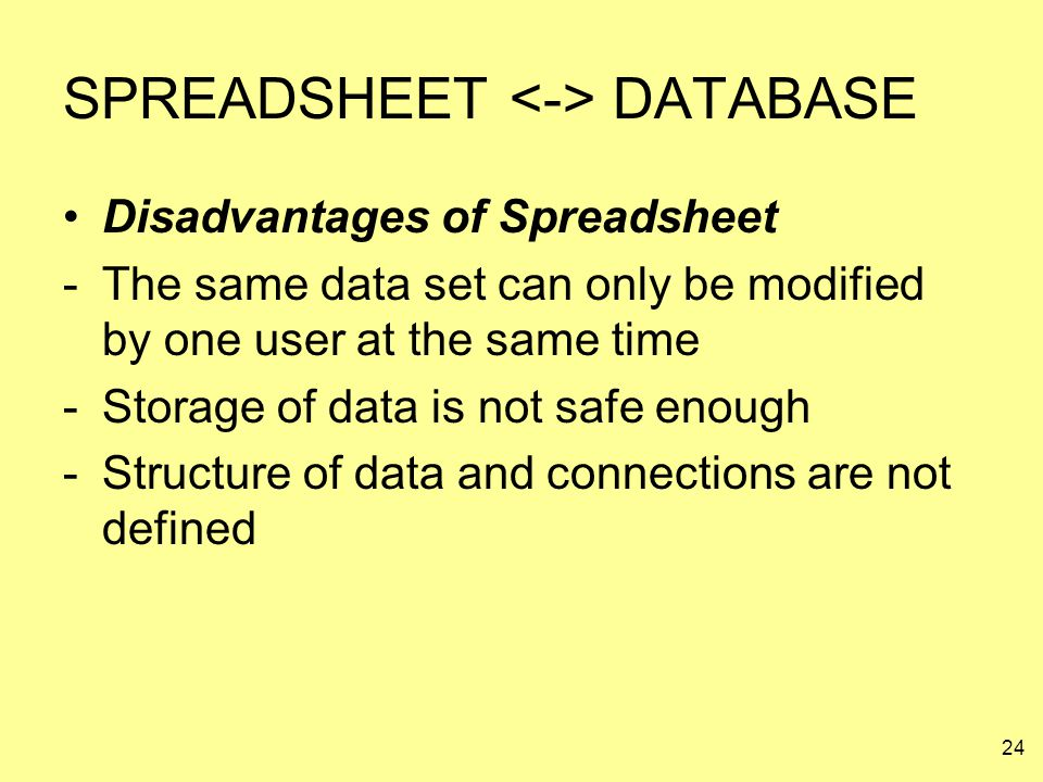 24 SPREADSHEET DATABASE Disadvantages of Spreadsheet -The same data set can only be modified by one user at the same time -Storage of data is not safe