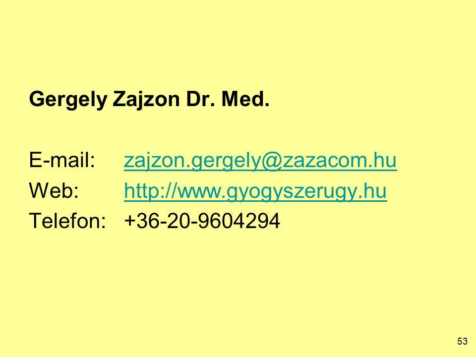 53 Gergely Zajzon Dr. Med. E-mail:zajzon.gergely@zazacom.huzajzon.gergely@zazacom.hu Web:http://www.gyogyszerugy.huhttp://www.gyogyszerugy.hu Telefon: