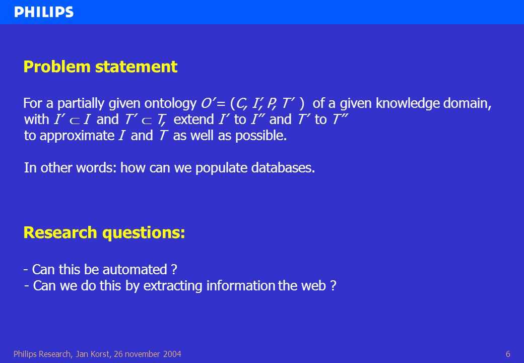 Philips Research, Jan Korst, 26 november 20046 Problem statement For a partially given ontology O' = (C, I', P, T' ) of a given knowledge domain, with I'  I and T'  T, extend I' to I'' and T' to T'' to approximate I and T as well as possible.